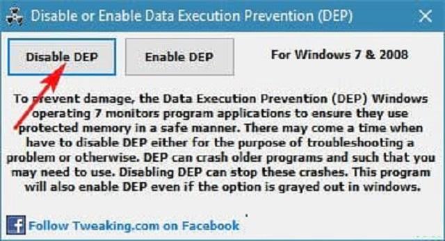 Chọn Disable DEP và khởi động lại máy tính để sửa lỗi